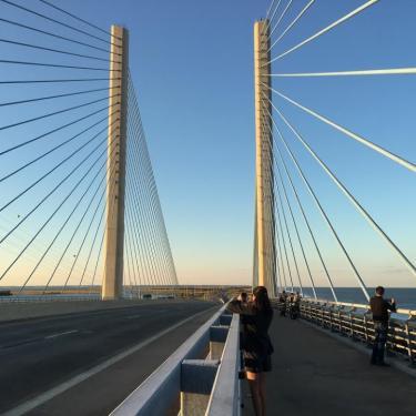 Sun, Moon, and Bridge Photo